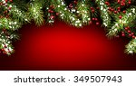 winter red background with fir... | Shutterstock .eps vector #349507943