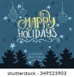 handdrawn postcard or greeting... | Shutterstock .eps vector #349523903