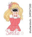 girl vector t shirt print... | Shutterstock .eps vector #349547183