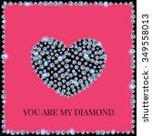 diamond heart on a pink... | Shutterstock .eps vector #349558013