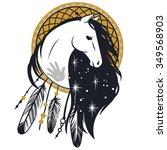 horse's head. tattoo sketch.... | Shutterstock .eps vector #349568903