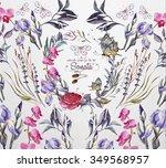 watercolor  flower's  frame for ...   Shutterstock . vector #349568957
