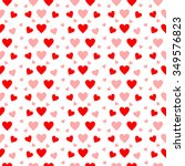 red and pink hearts in seamless ... | Shutterstock . vector #349576823