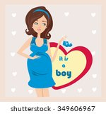 it's a boy    pregnant woman... | Shutterstock .eps vector #349606967