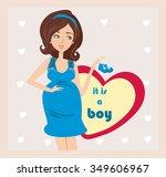 it's a boy    pregnant woman... | Shutterstock .eps vector #349606967