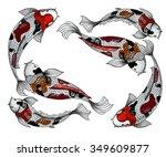koi fish isolate vector | Shutterstock .eps vector #349609877