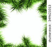 green branches of a christmas... | Shutterstock .eps vector #349621013