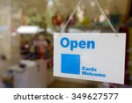 sign open hang inside mirror... | Shutterstock . vector #349627577