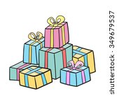 christmas or birthday presents... | Shutterstock .eps vector #349679537