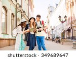 girls and guy holding camera... | Shutterstock . vector #349689647