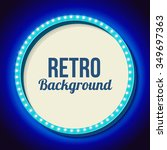 blue round retro frame with... | Shutterstock .eps vector #349697363