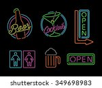 set of retro style neon light... | Shutterstock .eps vector #349698983