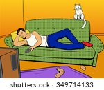 man lying on couch sofa and...   Shutterstock .eps vector #349714133