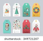collection of 8 christmas card... | Shutterstock .eps vector #349721207
