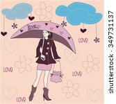 pretty girl with umbrella and... | Shutterstock .eps vector #349731137