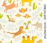 cartoon african animals... | Shutterstock .eps vector #349747883