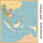 southeast asia map detailed... | Shutterstock .eps vector #349754363