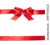 red ribbons with bow with tails ... | Shutterstock . vector #349755413