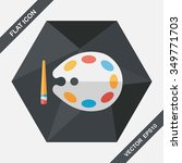 art palette with paint brush... | Shutterstock .eps vector #349771703