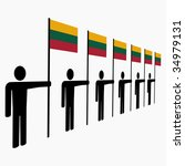 line of men holding lithuanian... | Shutterstock . vector #34979131