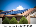 solar panels on the roof ... | Shutterstock . vector #349794947