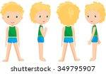 boy standing full face  profile ... | Shutterstock . vector #349795907