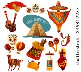 vector mexico icon set isolated ... | Shutterstock .eps vector #349812287