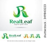 real leaf letter r logo... | Shutterstock .eps vector #349843223
