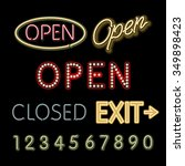 open neon sign closed exit... | Shutterstock . vector #349898423