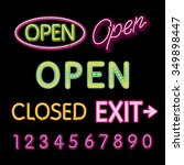 open neon sign closed exit... | Shutterstock . vector #349898447