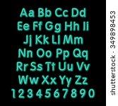 neon glow alphabet.  design... | Shutterstock . vector #349898453