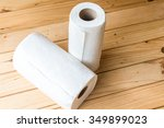 roll of paper towel on wooden...   Shutterstock . vector #349899023