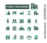 buildings  houses  icons  signs ... | Shutterstock .eps vector #349908413