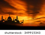 a silhouette of a mosque at... | Shutterstock . vector #349915343