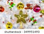 white christmas tree hang toy... | Shutterstock . vector #349951493