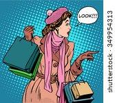 woman shopping buy discounts... | Shutterstock .eps vector #349954313