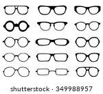 black silhouettes of eyeglasses ... | Shutterstock .eps vector #349988957