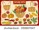 set of vegetables and objects... | Shutterstock .eps vector #350007047