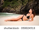beautiful woman rest on the...   Shutterstock . vector #350024513