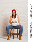 beautiful young pregnant woman... | Shutterstock . vector #350031767