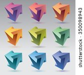9 impossible shapes  3 arrows ... | Shutterstock .eps vector #350098943