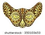 zentangle stylized cat head.... | Shutterstock .eps vector #350103653