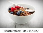 cereals and flakes with nuts... | Shutterstock . vector #350114327