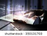 businessman using tablet over... | Shutterstock . vector #350131703