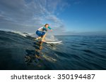 muscular surfer with long white ... | Shutterstock . vector #350194487