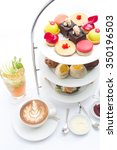 Small photo of Afternoon tea on white background