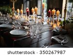 table setting set with candles... | Shutterstock . vector #350267987