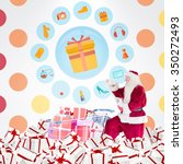 santa delivering gifts from... | Shutterstock . vector #350272493