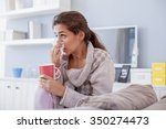 sick woman  flu woman. caught... | Shutterstock . vector #350274473