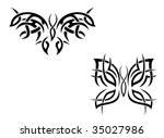 isolated butterfly tattoos in... | Shutterstock .eps vector #35027986